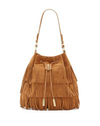 Vince Camuto | Brown Joni Leather Drawstring Bucket Bag | Lyst