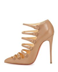 Christian Louboutin - Natural Viennana Strappy Leather Red Sole Bootie - Lyst