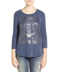 Lucky Brand - Blue 'metallic Birds' Graphic Tee - Lyst