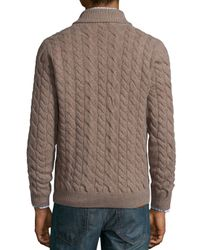 Neiman Marcus - Natural Cable-knit Cashmere Pullover Sweater for Men - Lyst
