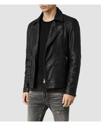 AllSaints - Black Battery Leather Biker Jacket for Men - Lyst