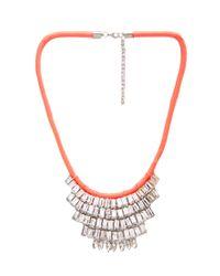 Forever 21 - Orange Neon Rhinestone Bib Necklace - Lyst