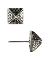 Judith Jack | Metallic Sterling Silver And Crystal Pyramid Stud Earrings | Lyst