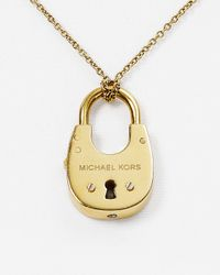 Michael Kors | Metallic Padlock Pendant Necklace, 16"