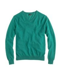 J.Crew | Green Italian Cashmere V-neck Sweater for Men | Lyst