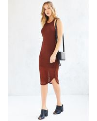 Sparkle & Fade - Brown Ribbed Racerback Tank Dress - Lyst
