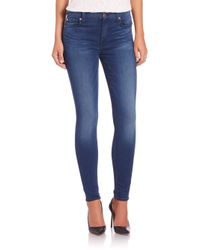 7 For All Mankind | Blue Mid-rise Slim Illusion Ankle Skinny Jeans | Lyst