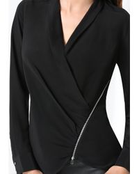 Bebe - Black Silk Zip Wrap Top - Lyst