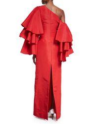 Rosie Assoulin - Red Bidi Bidi Bom Bom Gown W/detachable Ruffle Sleeves - Lyst