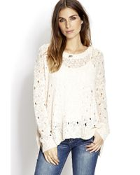 Forever 21 - White Boho Doll Open-knit Sweater You've Been Added To The Waitlist - Lyst