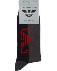 Emporio Armani | Black Large Logo Socks for Men | Lyst