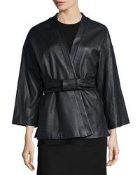 Adam Lippes - Black Belted Leather Kimono Jacket - Lyst