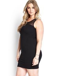 Forever 21 - Black Mesh-trimmed Bodycon Dress - Lyst