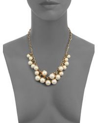 kate spade new york | Metallic Petaled Faux Pearl Necklace | Lyst