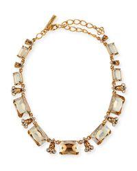 Oscar de la Renta - Metallic Large Octagon Stone Necklace - Lyst