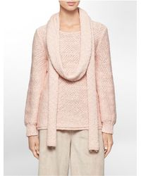 Calvin Klein | Pink White Label Slub Yarn Sweater + Scarf | Lyst