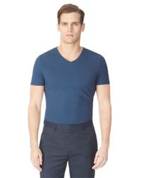 Calvin Klein | Blue Tonal Stripe Knit T-shirt for Men | Lyst
