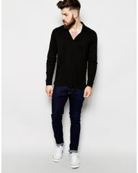 ASOS - Black Long Sleeve Polo Shirt With Notch Neck for Men - Lyst