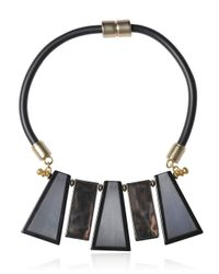 Emporio Armani - Gray Rubber And Resin Collar Necklace - Lyst