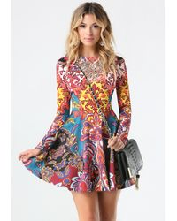 Bebe | Multicolor Print Embellished Dress | Lyst