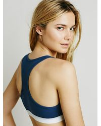 Free People | Blue Staci Woo Womens Cotton Rib Racerback Bra | Lyst
