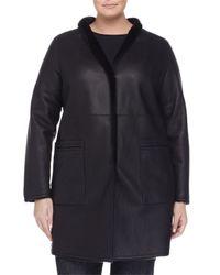 Marina Rinaldi - Blue Edison Reversible Leather Shearling Fur Jacket - Lyst