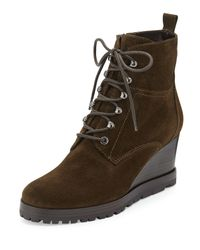 Aquatalia - Green Chance Suede Lace-Up Wedge Boot - Lyst