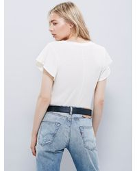 Free People - White Wtf Flutter Sleeve Tee - Lyst