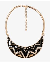 Forever 21 - Black Lacquer Rhinestone Bib Necklace - Lyst