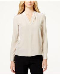 Calvin Klein | Natural Silk Pleated Blouse | Lyst