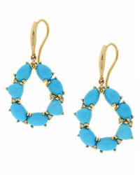 Effy | Blue Turquesa Turquoise, Diamond And 14k Yellow Gold Drop Earrings | Lyst