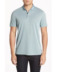 Ted Baker - Green 'missow' Slim Fit Woven Collar Polo for Men - Lyst