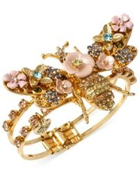 Betsey Johnson | Metallic Gold-Tone Queen Bee Hinged Bangle Bracelet | Lyst