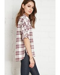 Forever 21 | Red Buttoned Plaid Flannel Shirt You've Been Added To The Waitlist | Lyst