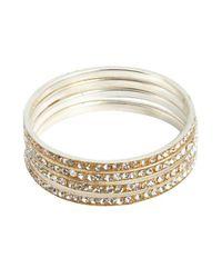 Chamak by Priya Kakkar - Metallic Set Of 4 Gold Plated Hammered Crystal Bangles - Lyst