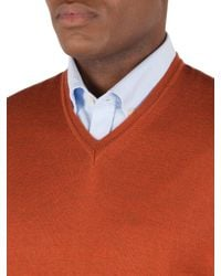 Gibson | Red V-neck Merino Jumper for Men | Lyst