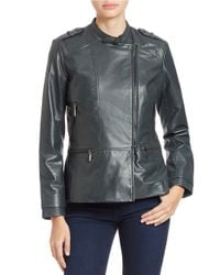Bernardo - Gray Asymmetrical Zip Leather Jacket - Lyst