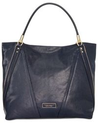 Calvin Klein | Blue Premium Leather Tote | Lyst