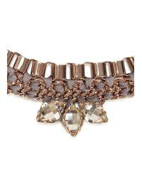 John & Pearl - Pink Meteor Rose Gold Tone Swarovski Necklace - Lyst