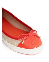 Tory Burch - Red Skyler Quilted Canvas Flats - Lyst