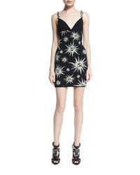 Fausto Puglisi - Black Ornament-strap Sun-print Mini Dress - Lyst