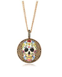 Azhar - Metallic Calavera Skull Rhodium Plated Sterling Silver Pendant Necklace W/zirconia - Lyst
