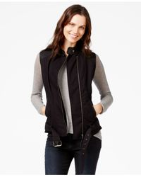 Lucky Brand - Black Lucky Brand Faux-leather-detail Moto Vest - Lyst