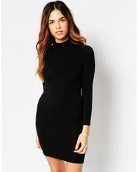 ASOS | Black Petite Bodycon Dress With High Neck & Open Strap Back | Lyst