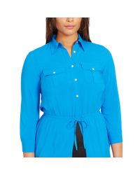 Ralph Lauren - Blue Drawcord Collared Shirtdress - Lyst