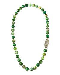 Elizabeth Showers - Green Holey Surfer Chrysoprase-Beaded Necklace W/ White Quartz & Pyrite Doublet - Lyst