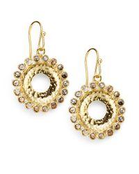 Bavna | Metallic 175 Tcw Champagne Diamond 18k Gold Sunburst Drop Earrings | Lyst