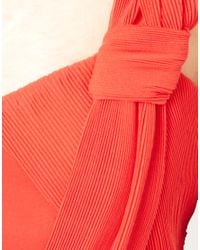 Oasis - Orange Pleat Prom Dress - Lyst