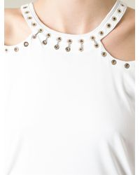 Roberto Cavalli - White Cut Out Shoulders Top - Lyst