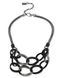 Kenneth Cole - Black New York Hematite-Tone Crystal Link Two-Row Necklace - Lyst
